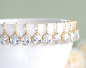 Gold Bridal Earrings Set of 11 Bridesmaid Earrings 11 Pairs LARGE Teardrop White Crystal Cubic Zirconia Wedding Earrings Bridesmaid Gift