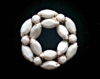 Vintage Brooch, Juliana Milk Glass Circle Pin by Delizza & Elster, Designer Brooch, Navette Stones, Mid Century, Circa 1960s, Includes Box