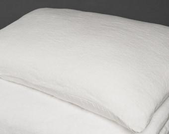 Linen White Pillow case, Linen Bedding, Linen Pillow case, Organic White Linen Pillow case
