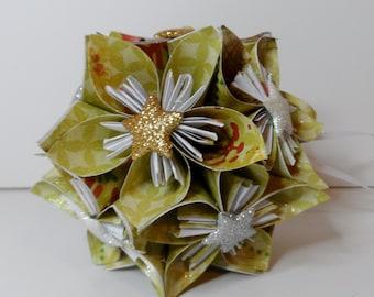 Small Kusudama Flower Ball Ornament (Gold Stars V2)