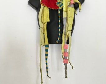 Storycatching 2... Sculpted Skinny Scarf OOAK, Recycled