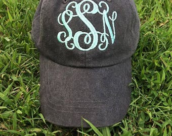 Embroidered Monogram Hat, Pigment Dyed Hat, Personalized Hat, Pool Day, Monogram Baseball Cap, Personalized Ball Cap |