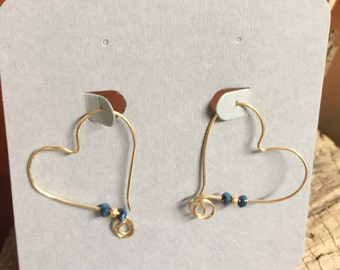 Heart Earrings.  Gold-filled OR Sterling with Accent Beads.