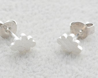 Sterling Silver Tiny Little Cloud Stud Earrings in Sterling Silver with textured finish e10