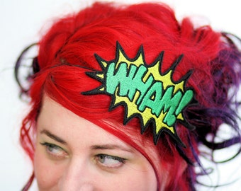 WHAM Cartoon Headband, Comic Inspired, Yellow and Green- Black FRiday Cyber Monday