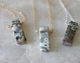 Ocean Jasper Necklace, Jasper Necklace, Ocean Jasper Pendant, Jasper Pendant, Jasper Jewelry, Wire Wrapped Jasper Necklace, Simple Pendent