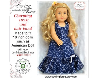 18 inch doll clothes pattern, Charming Dress and hairband for dolls such as American Girl Doll, PDF Sewing Pattern, Doll clothes outfit
