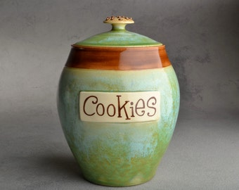 Cookie Jar Made To Order Patina & Brown Cookie Jar by Symmetrical Pottery