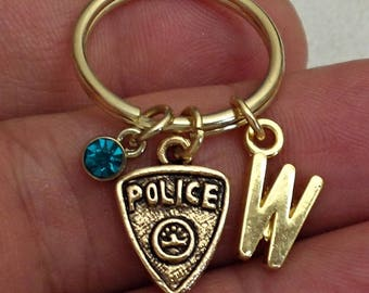 Great Design Pewter Gold ox POLICE BADGE personalized  initial KEYCHAIN  With Personalized Birthstone  /J6