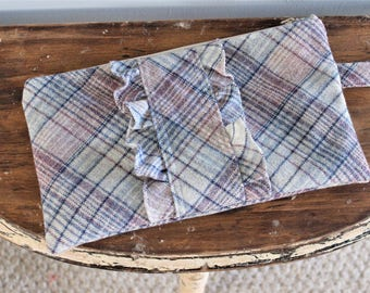 Gray and Pink Plaid Ruffled Upcycled Vintage Wool Zippered Clutch