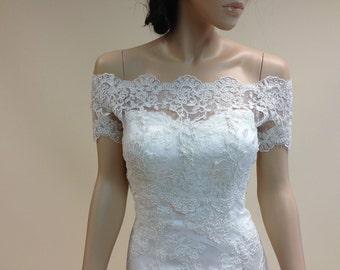 Off-Shoulder bolero, lace bolero, wedding bolero, wedding jacket, ivory Alencon Lace bolero jacket in short sleeve