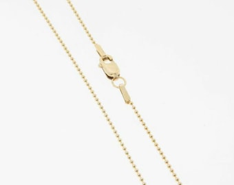24 Inch - Gold Filled 1mm Ball Chain Necklace, Made in USA/Italy
