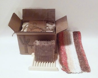 Hand Made Soap Gift Set 100% Cotton Hand Crocheted Wash Cloth Soap Dish