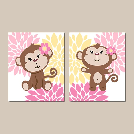 girl monkey wall art prints or canvas baby girl nursery. Black Bedroom Furniture Sets. Home Design Ideas
