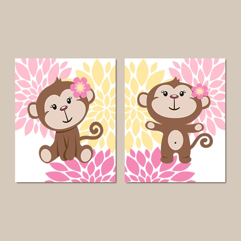 Girl Monkey Wall Art Prints Or Canvas Baby Nursery