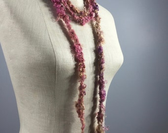 Mindful Wrap, Wearable Fiber Art-Freshwater Pearl Orbs on a Shades of Rose and Chocolate Mohair Cord with Spun in Mohair Flowers