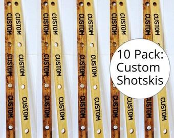 Bulk Custom Wooden Shotskis - 10 Pack