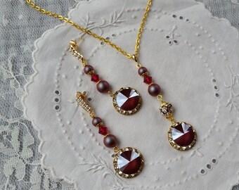 SWAROVSKI CRYSTAL NECKLACE Earrings Option Garnet Assemblage Bridal Bridesmaid Mother Gold Pearl Briolette Dangle Drop Holiday