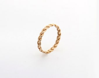 Dainty Wedding Band, delicate Jewelry trending now, trending jewelry, most sold item, Yellow Gold Braided ring, best selling jewelry ring
