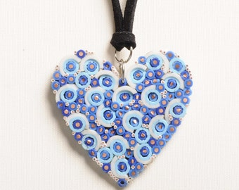 Heart shape necklace electric wires, FREE SHIPPING ,Blue pendant , Recycled necklace, heart charm, Heart jewelry, simple boho bohemian charm