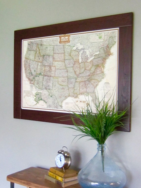 Push pin travel map usa map framed push pin map wall world like this item gumiabroncs Choice Image