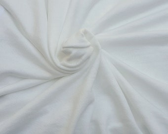 """Soft Cotton Blend French Terry Knit Fabric by Yard Non Optic White 65""""W 6/16"""