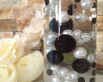 Black/White Floating Pearls 80pc Mix, Jumbo Pearls Vase Fillers, Decorative Pearls, Pearls Confetti