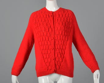 Large Red Cardigan Sweater Autumn Separates Button Up Front Long Sleeves 1960s 60s Vintage