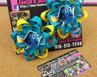Pigtail set of 2 Finding Dory loop hair bows