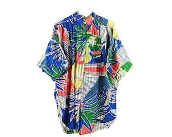 Vintage Oversized Slouchy Cocoon Sleeve Tropical Print Button Up Top size Large