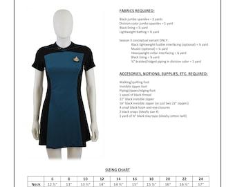 Star Trek Sewing Pattern - TNG Skant - The Next Generation Starfleet Uniform (Women's)