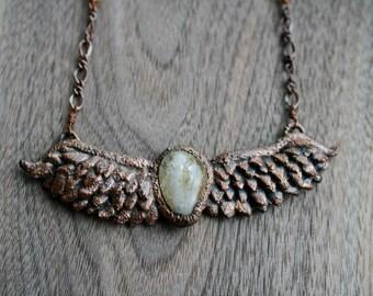 Citrine Owl Electroformed Necklace
