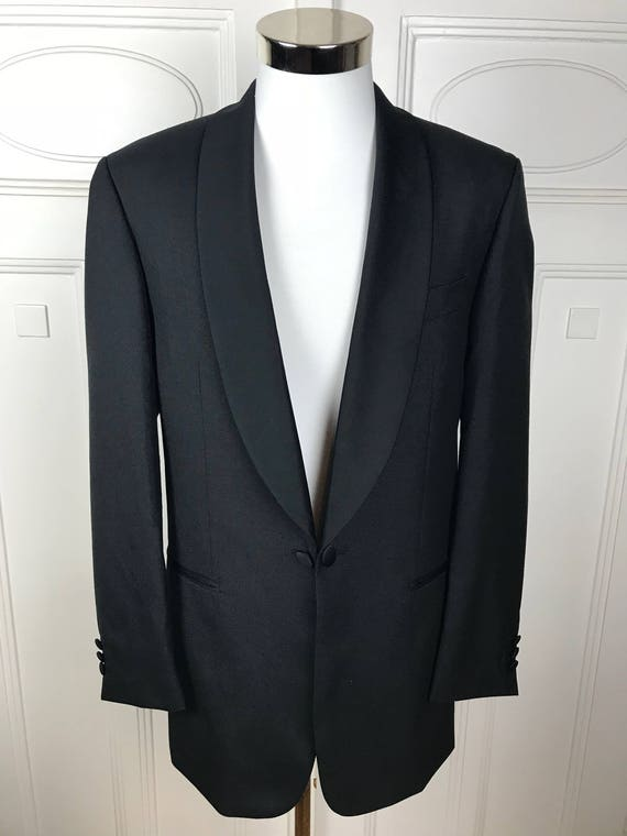 Vintage Prom Tuxedo Jacket Black Dinner Jacket Dutch Silk