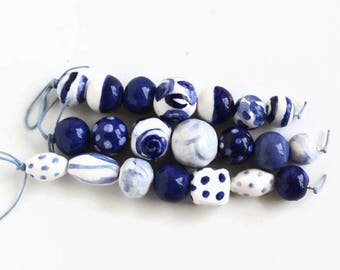Blue and white beads, blue beads, white beads, beads made in South Africa, beads from Africa, modern African beads, ceramic beads, clay bead