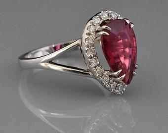 18K White Gold Pink Rubellite Tourmaline Ring | Engagement Ring | Wedding Ring | Anniversary Ring | Diamond Halo | Handmade Fine Jewelry