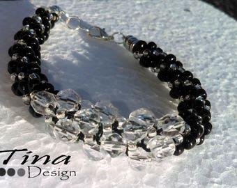 Black and Crystal Kumihimo Beaded Bracelet
