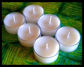 Tea Light Candles - Set of 6 - Soy Candle - Free U.S. Shipping - White Candle - Unscented