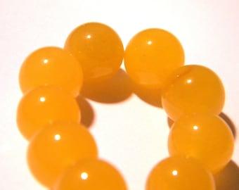10 pearls natural 10 mm jade gemstone - yellow - gemstone - Pearl jade - natural gemstones - G105-2
