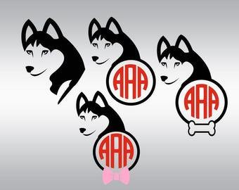 Dog svg, Dog silhouette svg, Siberian husky svg, Husky svg, Husky clipart, Husky monogram svg, Cricut, Cameo, Clipart, Svg, DXF, Png, Eps