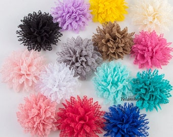 """4"""" 14 Colors Hot Sale Solid Ballerina Lace Flower For Baby Girl Hair Accessories Artificial Fabric Flowers For Headbands"""
