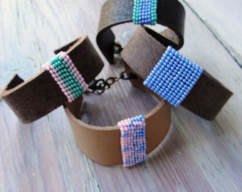 Beaded Leather Bracelet - Bohemian Bracelet- Pick your Color