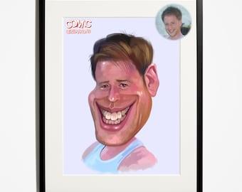 Male / white vest / caricature /  Portrait / illustration / cartoon / art / funny
