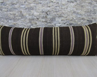 handmade turkey kilim pillow 12x36 svegetable dyed wool pillow cover floor cushion bolster pillow 12x36 kilim pillow decorative boho pillow
