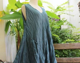 L-XL Sleeveless Cotton Top/ Short Tunic - Cadet Blue