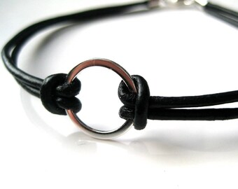 Mens leather bracelet and 925 N2982