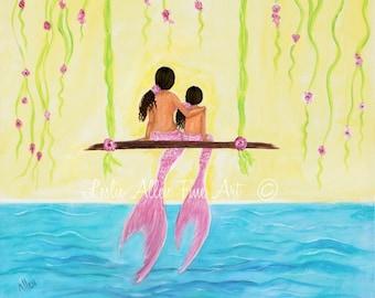 """Mermaid  Art Mermaid Painting Art Print Mermaids Mermaid Decor Mermaid Wall Art Mermaid Decor """"Sunny Day Together"""" Leslie Allen Fine Art"""