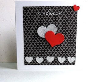 "Red and silver hearts, Valentines, wedding ""love"""