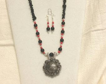Black jasper concho necklace