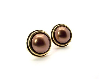 Chocolate Brown Pearl Cufflinks, Brown Pearl Cufflinks, Brown South Sea Shell Pearl Cufflinks, Brown Cufflinks