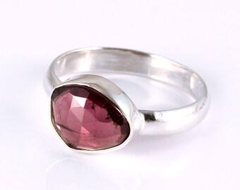 Garnet 92.5 sterling silver ring size 8 us